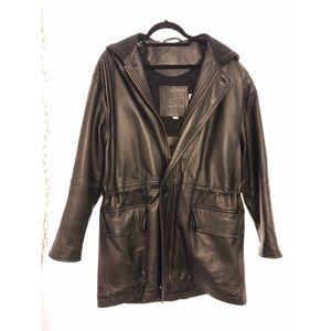 VINTAGE Coach Long Black Leather Jacket